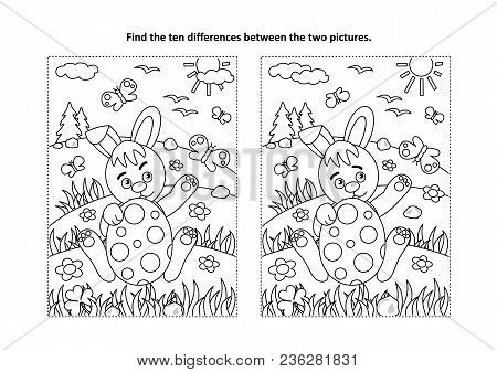 Easter Holiday Themed Find The Ten Differences Picture Puzzle And Coloring Page With Bunny And Paint