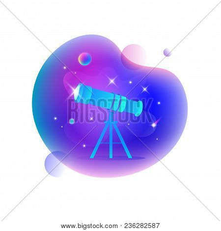 Vector Ui Illustration Of Astronomical Telescope Floating In An Outer Space On Bright Blue Spot.