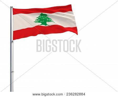 Isolate Flag Of Lebanon On A Flagpole Fluttering In The Wind On A White Background, 3d Rendering