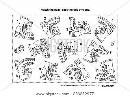 Iq Training Visual Logic Puzzle And Coloring Page With Old Style Boots. Match The Pairs. Match The P