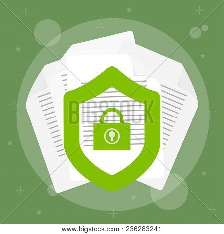 Secured Data With Paper Document And Guard Shield With Lock,  Doc Roll Protection, Confidential Info