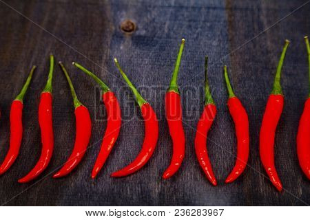 Red Chilli Pepper Is A Dark Background. Chili Pepper Is Decomposed In A Row.