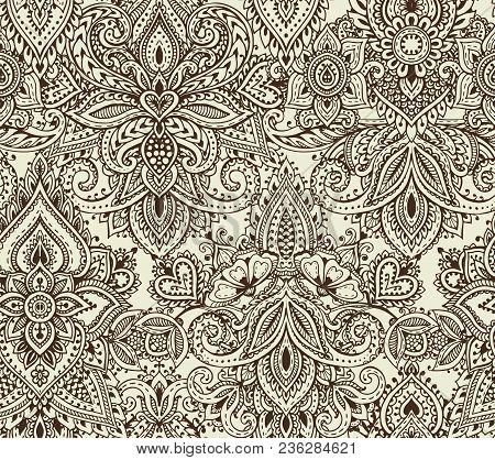 Vector Seamless Pattern With Hand Drawn Henna Mehndi Floral Elements. Beautiful Endless Background I