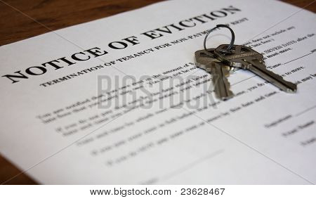 Letter stating Notice of Eviction with house keys poster