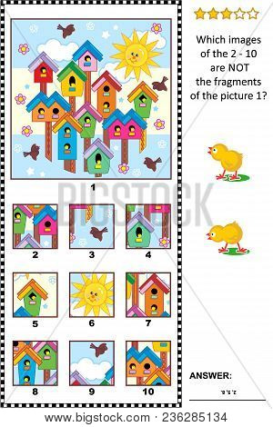 Spring Visual Logic Puzzle With Birdhouses, Birds And Nestlings Early In The Morning: What Of The 2