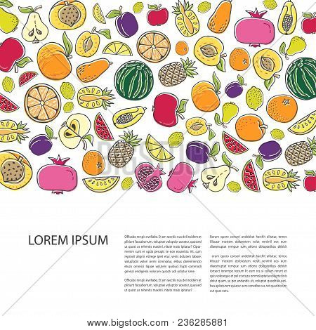 Agricultural Leaflet Template With Hand Drawn Fruit. Flat Style Vector Illustration Isolated On Whit