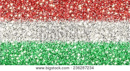 Hungary Sparkling Flag. Icon With Hungarian National Colors With Glitter Effect In Official Proporti