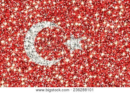 Republic Of Turkey Sparkling Flag. Icon With Turkish National Colors With Glitter Effect In Official