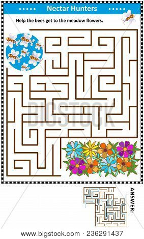 Maze Game For Children With Bees The Nectar Hunters: Help The Bees Get To The Meadow Flowers. Answer