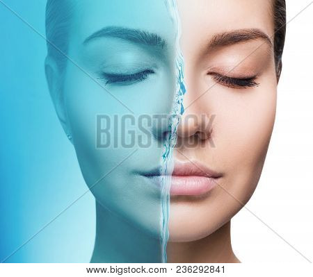 Sensual Woman Under Water Splash With Fresh Skin Over White Background. Cleansing And Moisturizing C