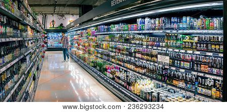 Bangkok, Thailand - March 18: Various Imported And Domestic Alcoholic Beverages Fully Stocked In Fre