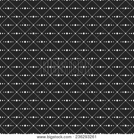Seamless Monochrome Minimalistic Pattern. Repeating Geometric Rhombuses With Line From Circles Insid