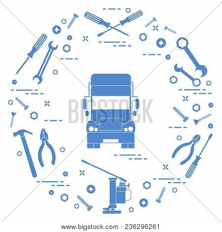 Repair Cars: Truck, Wrenches, Screws, Key, Pliers, Jack, Hammer, Screwdriver. Design For Announcemen