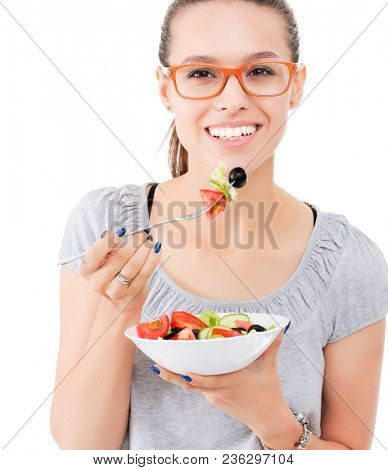 A beautiful girl eating healthy food. Beautiful girl