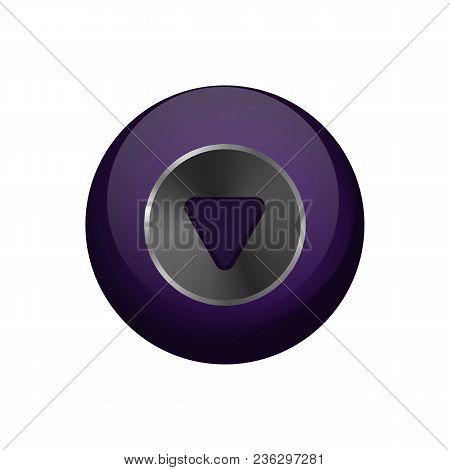 Magic Ball Of Predictions. Vector Illustration. Dark Purple Sphere On White Background.
