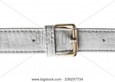 White Leather Belt With Golden Buckle Closeup On White Background