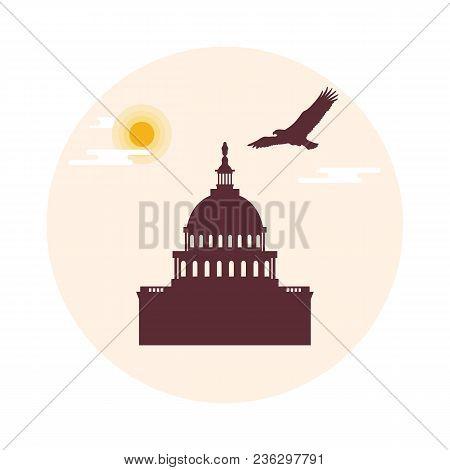 The Capitol Building Of The U.s. Congress, Sun, Clouds And Soaring Eagle. American Symbols. Design F