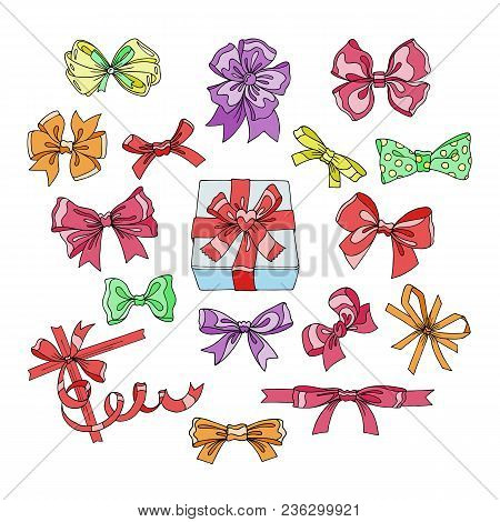 Bow Vector Bowknot Or Ribbon For Decorating Gifts On Christmas Or Birtrhday Illustration Set Of Girl