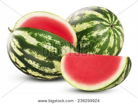 Ripe Watermelon Three Quarters, Whole And Slice Isolated On White Background. Clipping Path. Full De