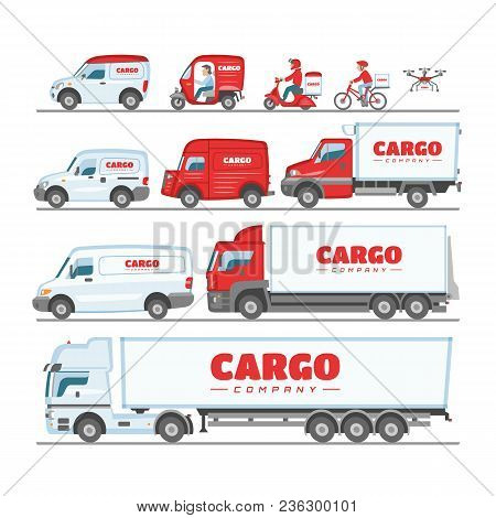 Cargo Truck Vector Van Or Minivan Car For Delivery Or Transportation Freight Illustration Set Of Moc