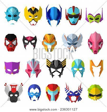 Hero Mask Vector Superhero Masque And Masking Face Cartoon Character Illustration Set Of Powerful Ma