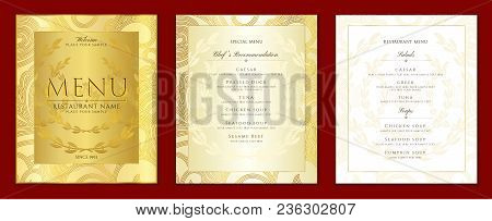 Design Restaurant Menu Template In Black Color With Gold Frame Pattern (border). Elegant Luxe Gold C