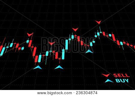 Stock Market Candlestick Chart With World Map Vector Illustration. Green And Red Japanese Candle Bar