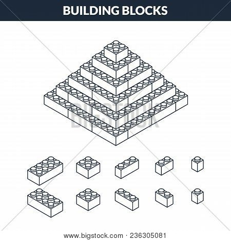 Icon Of Outline Pyramid From Building Blocks