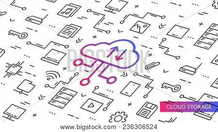 Cloud Storage Vector Illustration. Internet Technology To Save Data On Remote Servers Creative Conce