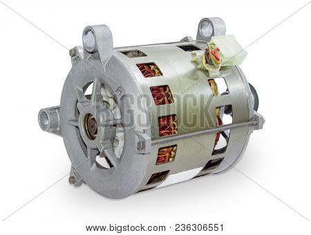 Single Phase Induction Motor For Household Appliances On A White Background