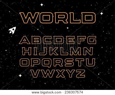 Isolated Yellow Color Alphabet Elements On Black Space Background. Graphic Illustration Of Cosmic Fo