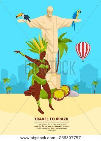 Urban Landscape With Brazilian Landmarks And Symbols. Brazil Travel, Tourism Brazilian Illustration