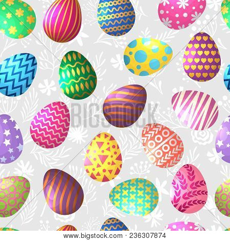 Seamless Pattern Of Colored Easter Eggs. Easter Holiday Spring, Seamless Pattern Colored Eggs Illust
