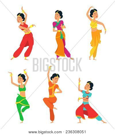 Indian Dancers Isolate On White Background. Characters Set Indian Dance, India Dress Traditional Cos