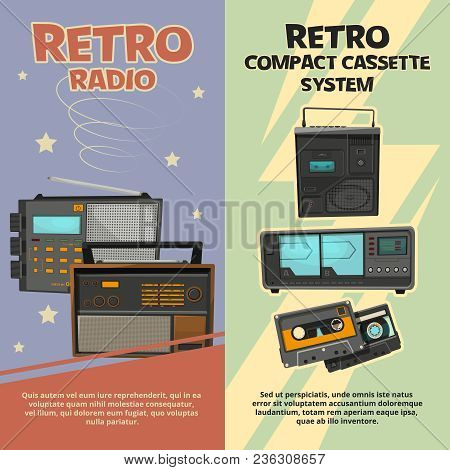 Vertical Banners With Illustrations Of Vintage Recorders And Radios. Vector Vintage Radio And Record