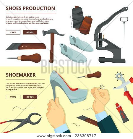 Banners Design Template With Shoe Repair Tools. Shoemaker Tools, Footwear And Hammer, Repairman Craf