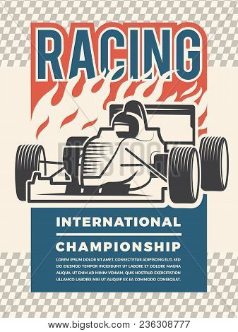 Poster Or Placard For Motosport. Vintage Illustrations Of Racing Cars. Sport Race Speed, Auto Intern
