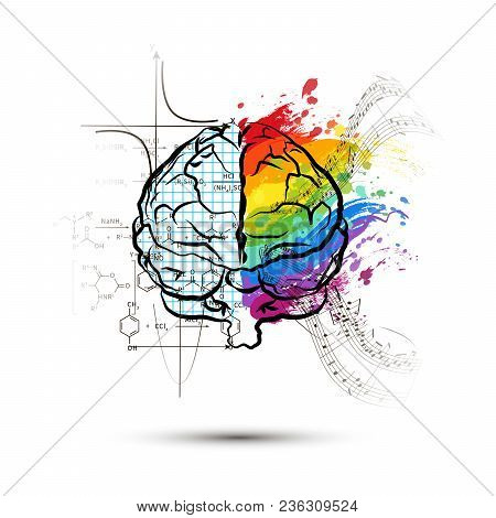 Technical And Art Hemispheres On Human Brain In Front View, Left And Right Brain Functions Concept I