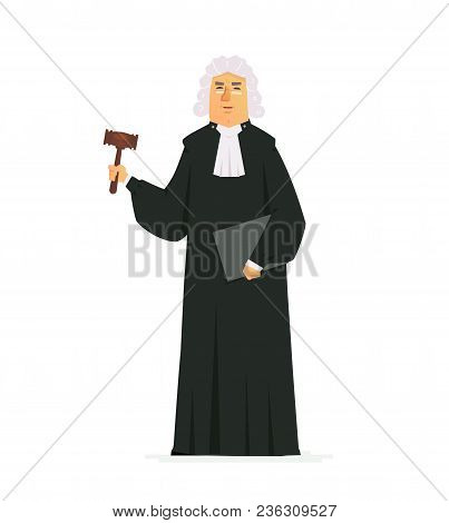 Judge - Modern Vector Cartoon People Characters Illustration Isolated On White Background. An Image