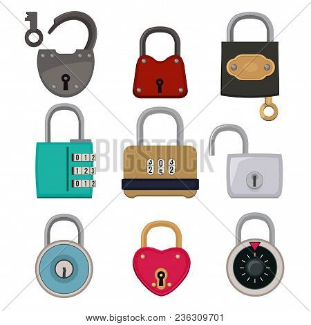 Vector Colored Icon Set Of Padlocks. Illustration Collection Of Lock For Safe, Safety Abd Protection