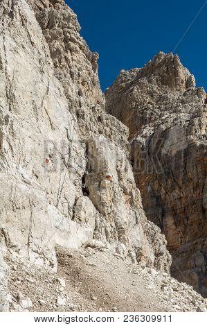 Via Ferrata Route Carved Into Rock. Brenta Dolomites, Sentiero Delle Bocchette Alte..