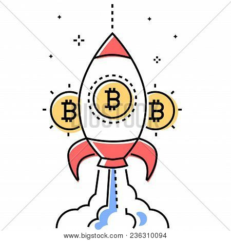 Bitcoin Business - Colorful Line Design Style Conceptual Illustration On White Background. High Qual