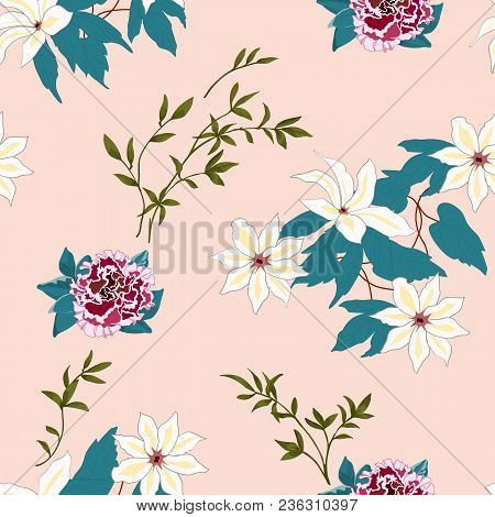 Trendy Floral Background With Many Wild Flowers And Twigs With Leaves In Hand Drawn Style On Pink. B