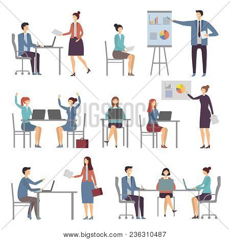 Stylized Business Characters. Different Dialogs Of Office People. Presentation Business Chart, Colle