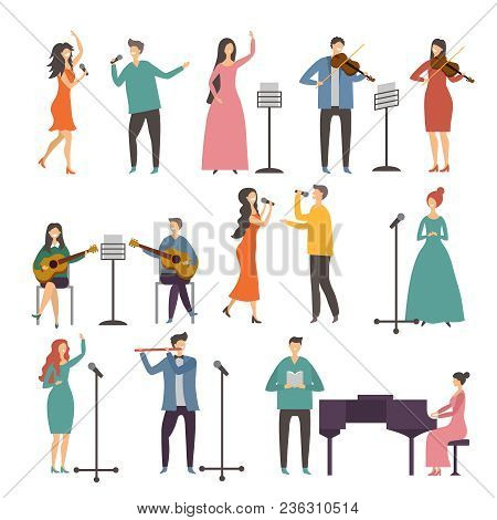 Concert And Music Groups. Vocal Duets. Musician And Singers Performances. Vector Singer And Musician