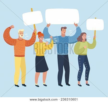 Vector Cartoon Illustration Of People On Strike Waving Banners Picketing, Shout Ft Loudspeaker And P