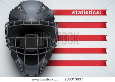 Background Of Baseball Sports. Infographic Of List And Schedule Of Players And Statistics. Catcher M