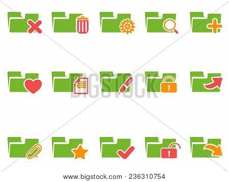 Isolated Color File Folder Icons Set From White Background