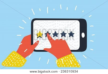 Vector Cartoon Illustration Of Star - User Rating On Mobile Phone.user Opinion, Review, Feedback. Ba