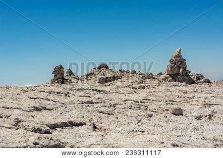 Pyramide Built Of Rocks To Guide Lost Mountaineers. Brenta Dolomites, Sentiero Delle Bocchette Alte.